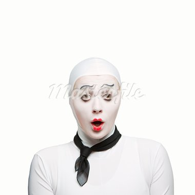 Isolated on white protrait of a mime woman showing surprising exspression Stock Photo - Royalty-Free, Artist: SergiyChmara                  , Code: 400-05753024