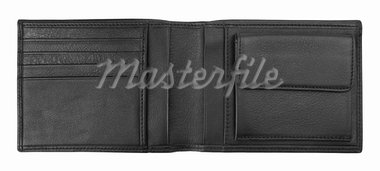 Black leather wallet isolated on white background. Stock Photo - Royalty-Free, Artist: krasyuk                       , Code: 400-05753179