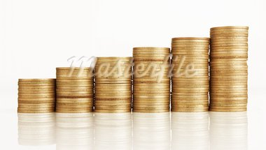 gold coin stack isolated on white Stock Photo - Royalty-Free, Artist: krasyuk                       , Code: 400-05753190