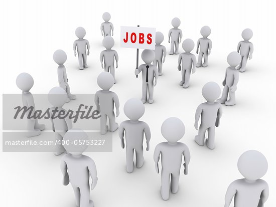 Many 3d people walking towards one holding a job sign Stock Photo - Royalty-Free, Artist: MasterofAll686                , Code: 400-05753227