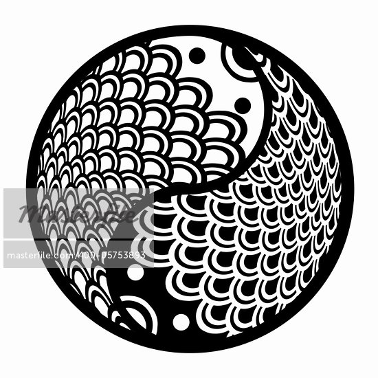Chinese Pair of Fish in Yin Yang Eternity Circle Illustration Black and