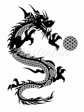 2012 Flying Chinese New Year of the Dragon with Ball and Fish Scales on White Background Illustration Stock Photo - Royalty-Free, Artist: jpldesigns                    , Code: 400-05753904