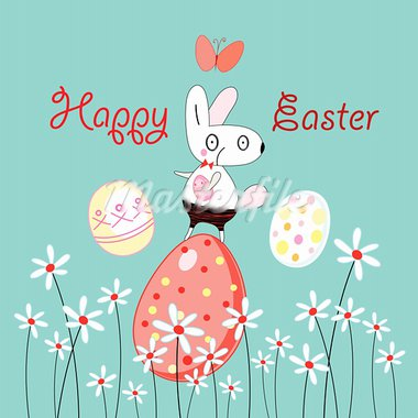 Funny Easter Bunny on a blue background with flowers and eggs Stock Photo - Royalty-Free, Artist: tanor                         , Code: 400-05754004