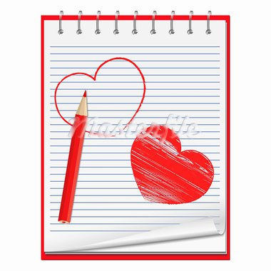 Notebook with hand drawn hearts and red pencil, vecctor eps10 illustration Stock Photo - Royalty-Free, Artist: _human                        , Code: 400-05754028