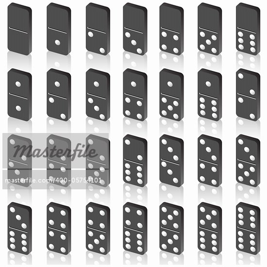 A set of dice for a game of dominoes. Vector.