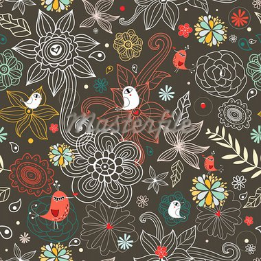 seamless bright floral pattern with birds on a brown background Stock Photo - Royalty-Free, Artist: tanor                         , Code: 400-05754353