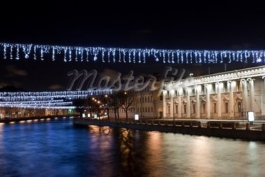 Night Christmas view of Fontanka river. St. Petersburg, Russia Stock Photo - Royalty-Free, Artist: sateda                        , Code: 400-05754428