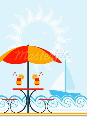 vector background with beach umbrella, drinks on table and sailboat, Adobe Illustrator 8 format Stock Photo - Royalty-Free, Artist: beta757                       , Code: 400-05754500