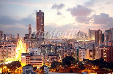 urban city sunset Stock Photo - Royalty-Free, Artist: cozyta                        , Code: 400-05754684