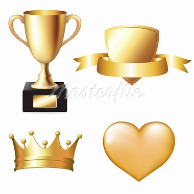 Gold Trophy Set, Vector Illustration Stock Photo - Royalty-Free, Artist: adamson                       , Code: 400-05755326