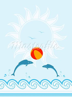 vector background with fishes playing with beach ball, Adobe Illustrator 8 format Stock Photo - Royalty-Free, Artist: beta757                       , Code: 400-05755631