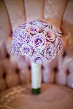 Bouquet of Purple Flowers on Chair Stock Photo - Premium Rights-Managed, Artist: Ikonica, Code: 700-05786457