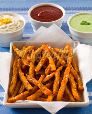 Sweet Potato Fries With Sauces Stock Photo - Premium Royalty-Freenull, Code: 6106-05787924