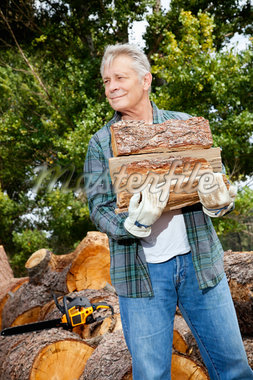 Senior man carrying firewood logs Stock Photo - Premium Royalty-Freenull, Code: 693-05794385