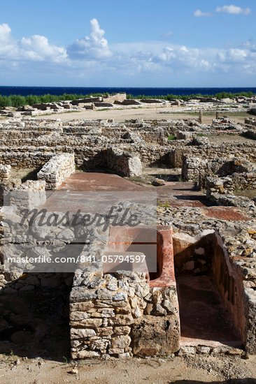 Phoenician ruins with Mediterranean Sea beyond, Kerkouane Archaeological Site, UNESCO World Heritage Site, Tunisia, North Africa, Africa Stock Photo - Premium Rights-Managed, Artist: Robert Harding Images, Code: 841-05794597