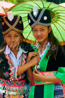Young Hmong women in traditional dress, Lao New Year festival, Luang Prabang, Laos, Indochina, Southeast Asia, Asia Stock Photo - Premium Rights-Managed, Artist: Robert Harding Images, Code: 841-05796420