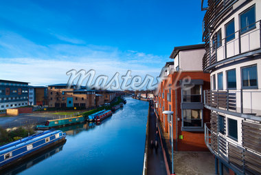 Canal Barges and University Student Accommodation, near Brayford Pool and Brayford Quays, Lincoln, Lincolnshire, England Stock Photo - Premium Rights-Managed, Artist: Jason Friend, Code: 700-05803564