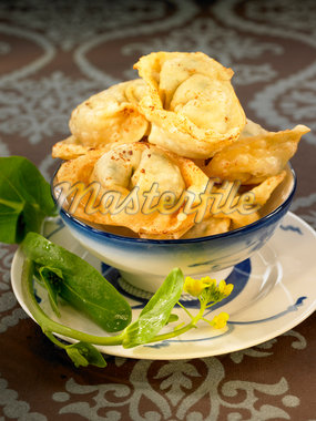 Fried pork raviolis Stock Photo - Premium Royalty-Freenull, Code: 652-05806916