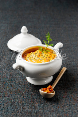 Turmeric-flavored cream of sweet potato soup Stock Photo - Premium Royalty-Freenull, Code: 652-05808514