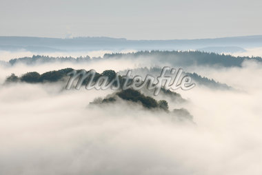 Fog, Forest and Hill, View From Cloef, Mettlach, Merzig-Wadern, Saarland, Germany Stock Photo - Premium Royalty-Free, Artist: Martin Ruegner, Code: 600-05821952