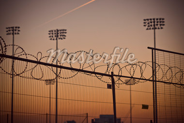 Floodlights and Fence at Olympic Park, Pudding Mill Lane, Stratford, London, England Stock Photo - Premium Rights-Managed, Artist: Matt Brasier, Code: 700-05822003