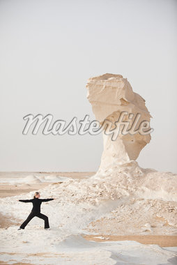 Woman Practicing Yoga, White Desert, Farafra, New Valley Governorate, Egypt Stock Photo - Premium Royalty-Free, Artist: Ikonica, Code: 600-05822103