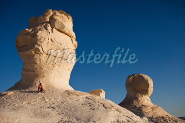 Woman Sitting near Rock Formations, White Desert, Egypt Stock Photo - Premium Rights-Managed, Artist: Ikonica, Code: 700-05822131