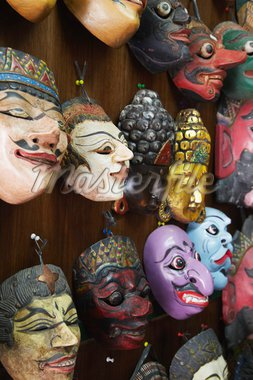Masks at Pasar Triwindu flea market, Solo, Java, Indonesia, Southeast Asia, Asia Stock Photo - Premium Rights-Managed, Artist: Robert Harding Images, Code: 841-05846503