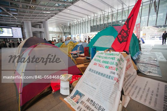 Occupy Central protest, anti-capitalist protesters set up camp under the atrium of the HSBC Headquarters, November 2011, Central, Hong Kong, China, Asia Stock Photo - Premium Rights-Managed, Artist: Robert Harding Images, Code: 841-05846866