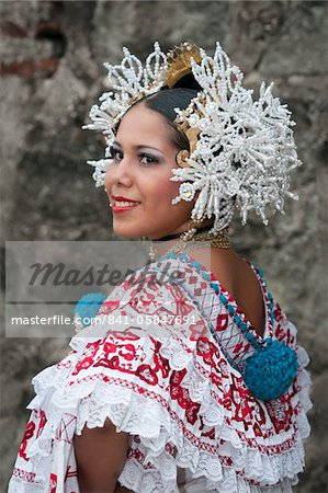 Panamanian woman wearing a pollera, Panama's national dress, Panama City, Panama, Central America
