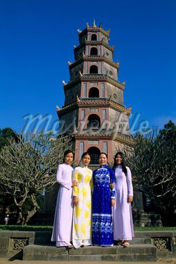 Thien Mu Pagoda (Pagoda of the Heavenly Lady) with local girls, Hue, UNESCO World Heritage Site, North Central Coast, Vietnam, Indochina, Southeast Asia, Asia Stock Photo - Premium Rights-Managed, Artist: Robert Harding Images, Code: 841-05848695