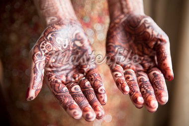 Bride with Mendhi on Palms of Hands Stock Photo - Premium Rights-Managed, Artist: Ikonica, Code: 700-05855068