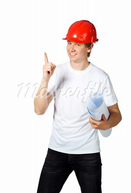 portrait of a builder on a white background Stock Photo - Royalty-Free, Artist: tan4ikk                       , Code: 400-05875598