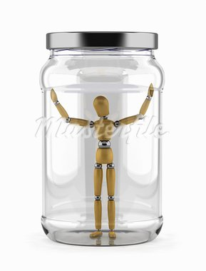 Man trapped in a glass jar over white background Stock Photo - Royalty-Free, Artist: badboo                        , Code: 400-05876129