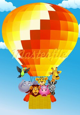 Animal cartoon on balloon  illustration Stock Photo - Royalty-Free, Artist: dagadu                        , Code: 400-05876688