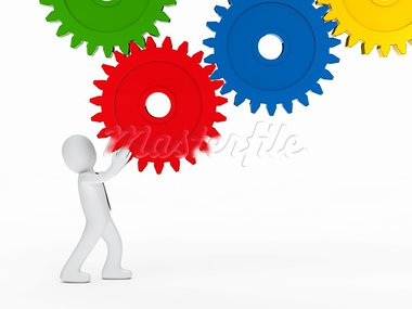 businessman with tie hold colorful mechanic gear Stock Photo - Royalty-Free, Artist: dak                           , Code: 400-05876958