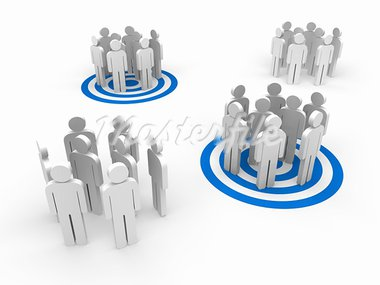 People in group stand in blue target Stock Photo - Royalty-Free, Artist: dak                           , Code: 400-05877742