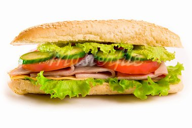 Ham and cheese sandwich with lettuce and tomatoes, isolated on white Stock Photo - Royalty-Free, Artist: tan4ikk                       , Code: 400-05877756