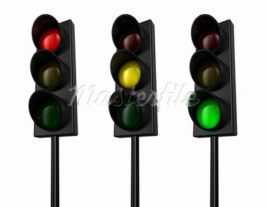 Illustration of a traffic light with three colours Stock Photo - Royalty-Free, Artist: FotoVika                      , Code: 400-05877990