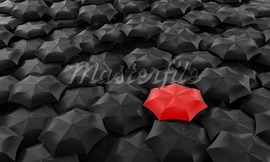 Illustration of one red umbrella among many dark Stock Photo - Royalty-Free, Artist: FotoVika                      , Code: 400-05877996