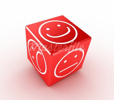 Illustration of a red cube with different faces Stock Photo - Royalty-Free, Artist: FotoVika                      , Code: 400-05878008