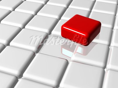 arranged 3d white-grey cubes with one red on top of the group Stock Photo - Royalty-Free, Artist: marinini                      , Code: 400-05879110