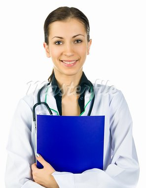 Smiling medical doctor woman with stethoscope over white background Stock Photo - Royalty-Free, Artist: tan4ikk                       , Code: 400-05880972