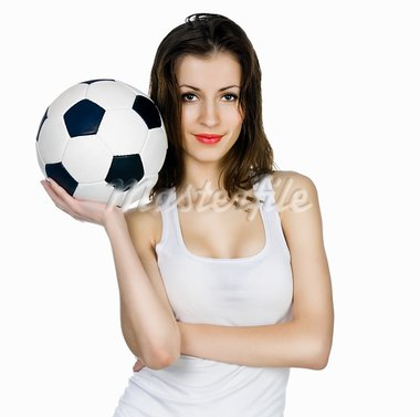 young adult woman with ball. over white background Stock Photo - Royalty-Free, Artist: tan4ikk                       , Code: 400-05881062
