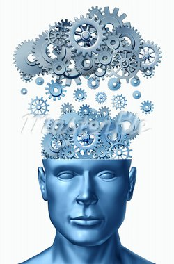 Learn & Lead symbol isolated on white represented by a human head with gears and cogs raining down from a symbolic server representing cloud computing. Stock Photo - Royalty-Free, Artist: pixelus                       , Code: 400-05881912