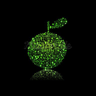 Apple Silhouette Filled With Diiferent Eco Object on Black Background - bulb, leaf, globe, drop, apple, house, trash. Ecology concept. Stock Photo - Royalty-Free, Artist: nikifiva                      , Code: 400-05882358