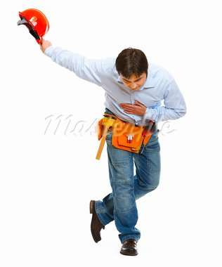 Construction worker bowing with helmet in hand   Stock Photo - Royalty-Free, Artist: citalliance                   , Code: 400-05883696