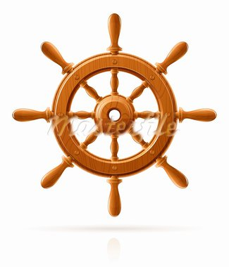 ship wheel marine wooden vintage  vector illustration isolated on white background Stock Photo - Royalty-Free, Artist: aleksangel                    , Code: 400-05884638