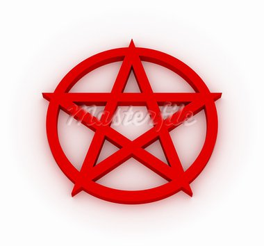 Red Pentagram, 3d image Stock Photo - Royalty-Free, Artist: OKeen                         , Code: 400-05885034