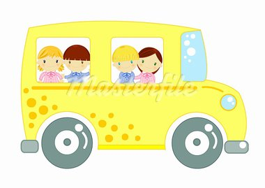 school bus carring to school pupil kids on board Stock Photo - Royalty-Free, Artist: Gnoppoletta                   , Code: 400-05885400